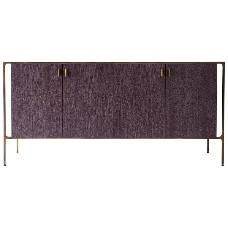 PONTE Credenza - cerused oak with patinated brass plated steel For Sale