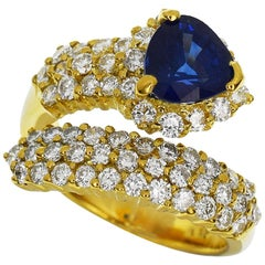 Ponte Vecchio 1.16 Carat Blue Sapphire Diamond 18 Karat Yellow Gold Ring