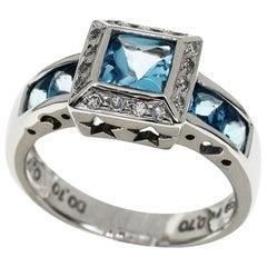Ponte Vecchio 18 Karat White Gold Blue Topaz Diamond Ring US 5.5