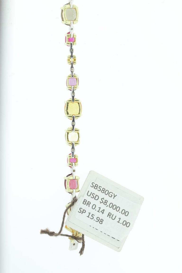 Ponte Vecchio 18 Karat Yellow and White Gold Multi Gemstone and Diamond Bracelet In New Condition For Sale In New York, NY