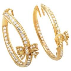 Ponte Vecchio Diamond Gold Bow Hoop Clip-On Earrings