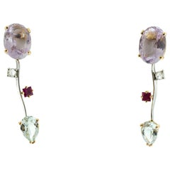 Ponte Vecchio Gioielli 18 Karat Yellow and White Gold Multi Gemstone Earrings