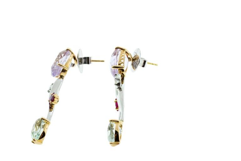 Contemporary Ponte Vecchio Gioielli 18 Karat Yellow and White Gold Multi Gemstone Earrings For Sale