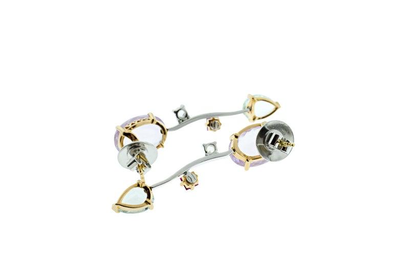 Oval Cut Ponte Vecchio Gioielli 18 Karat Yellow and White Gold Multi Gemstone Earrings For Sale