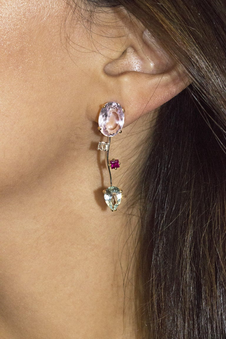 Ponte Vecchio Gioielli 18 Karat Yellow and White Gold Multi Gemstone Earrings In New Condition For Sale In New York, NY