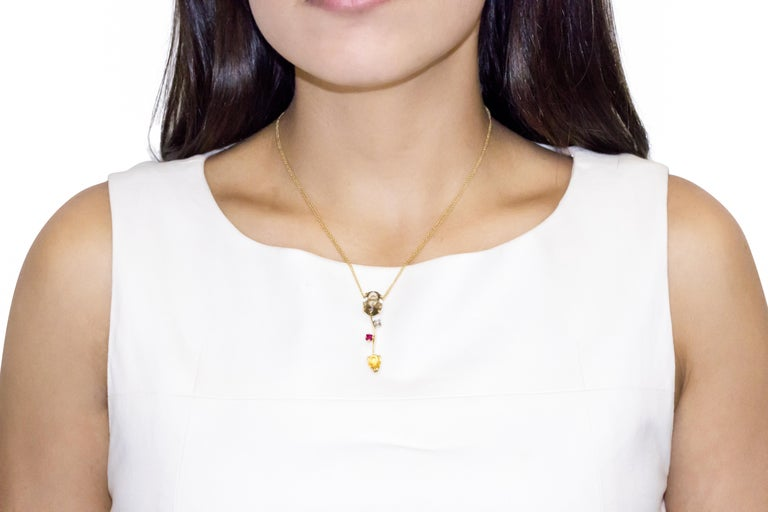 Ponte Vecchio Gioielli 18 Karat Yellow Gold Multi Gemstone Pendant Necklace In New Condition For Sale In New York, NY