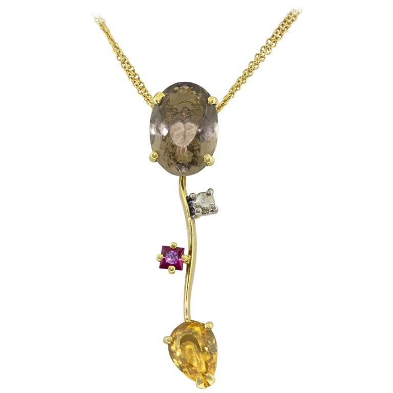 Ponte Vecchio Gioielli 18 Karat Yellow Gold Multi Gemstone Pendant Necklace For Sale