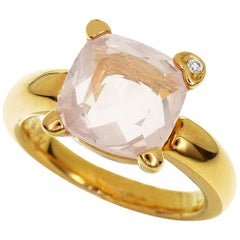 Ponte Vecchio Pink Quartz 0.01 Carat Diamond 18 Karat Pink Gold Ring