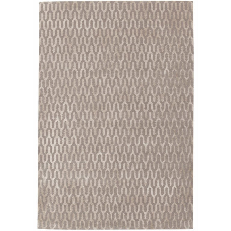 Ponti Silk Hand-Knotted 10x8 Rug in Wool and Silk by Suzanne Sharp For Sale