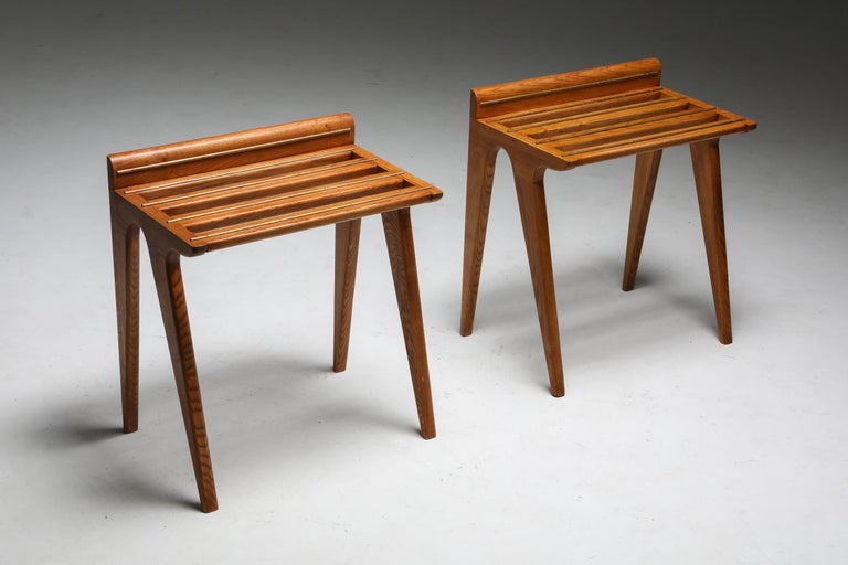 Console tables in oak and brass, style of Gio Ponti, circa 1958  Rare set of suitcase holders Designed for Hotel Parco in Sorrento  Gio Ponti (1891-1979) was trained as an architect but was also a poet, a painter, a designer of exhibitions, glass,