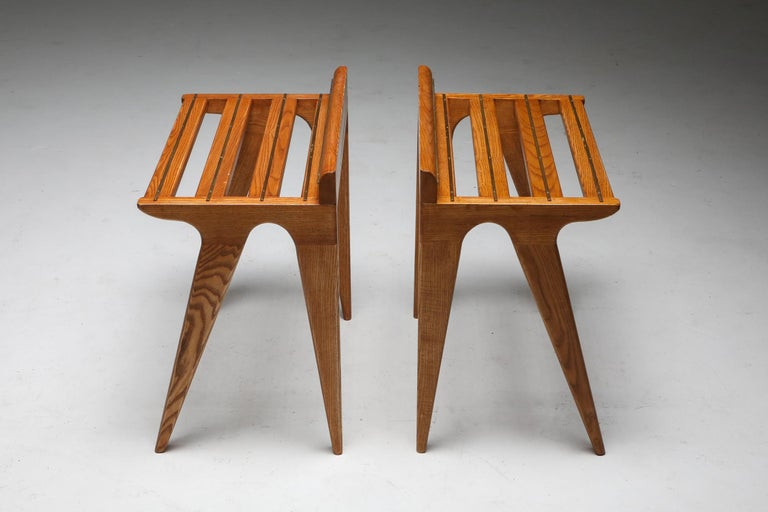 Italian Ponti Style Suitcase Holders in Oak and Brass, circa 1958 For Sale