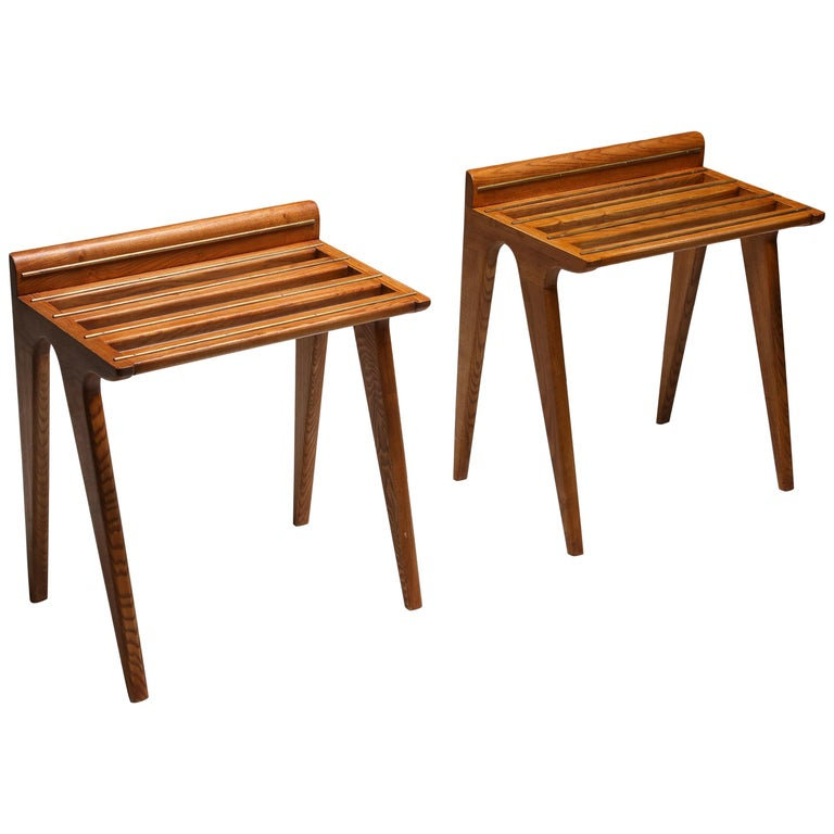 Ponti Style Suitcase Holders in Oak and Brass, circa 1958 For Sale