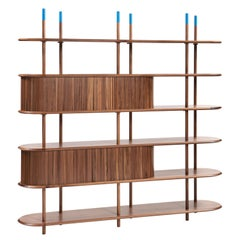 Contemporary and crafted bookcase, shelves, shelf sideboard walnut or oak