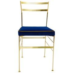 Pontina Gold-Blauer Stuhl aus Eisen und Indischem Baumwollstoff, Hergstellt in Italien