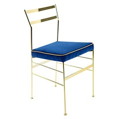 In Stock in Los Angeles, Velvet Dining Chair Blue, by Paolo Calcagni