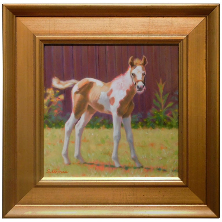 """Pony Up"", Small Oil Painting on Artist's Board by Sandra Eames, 2017 For Sale"
