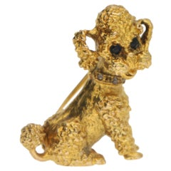 Vintage Sapphire and Rose Cut Diamond French Poodle Brooch Set in 9k Yellow Gold