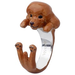 Poodle Dog Sterling Silver 925 Brown Enamel Customizable Ring