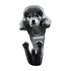 Poodle Dog Sterling Silver 925 Gray Enamel Customizable Ring