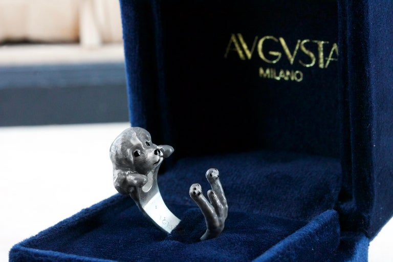 Poodle Dog Sterling Silver 925 Gray Enamel Customized Ring In New Condition For Sale In Milano, IT