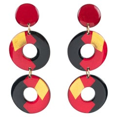 Pop Art Black Red Gold Donut Lucite Clip Earrings