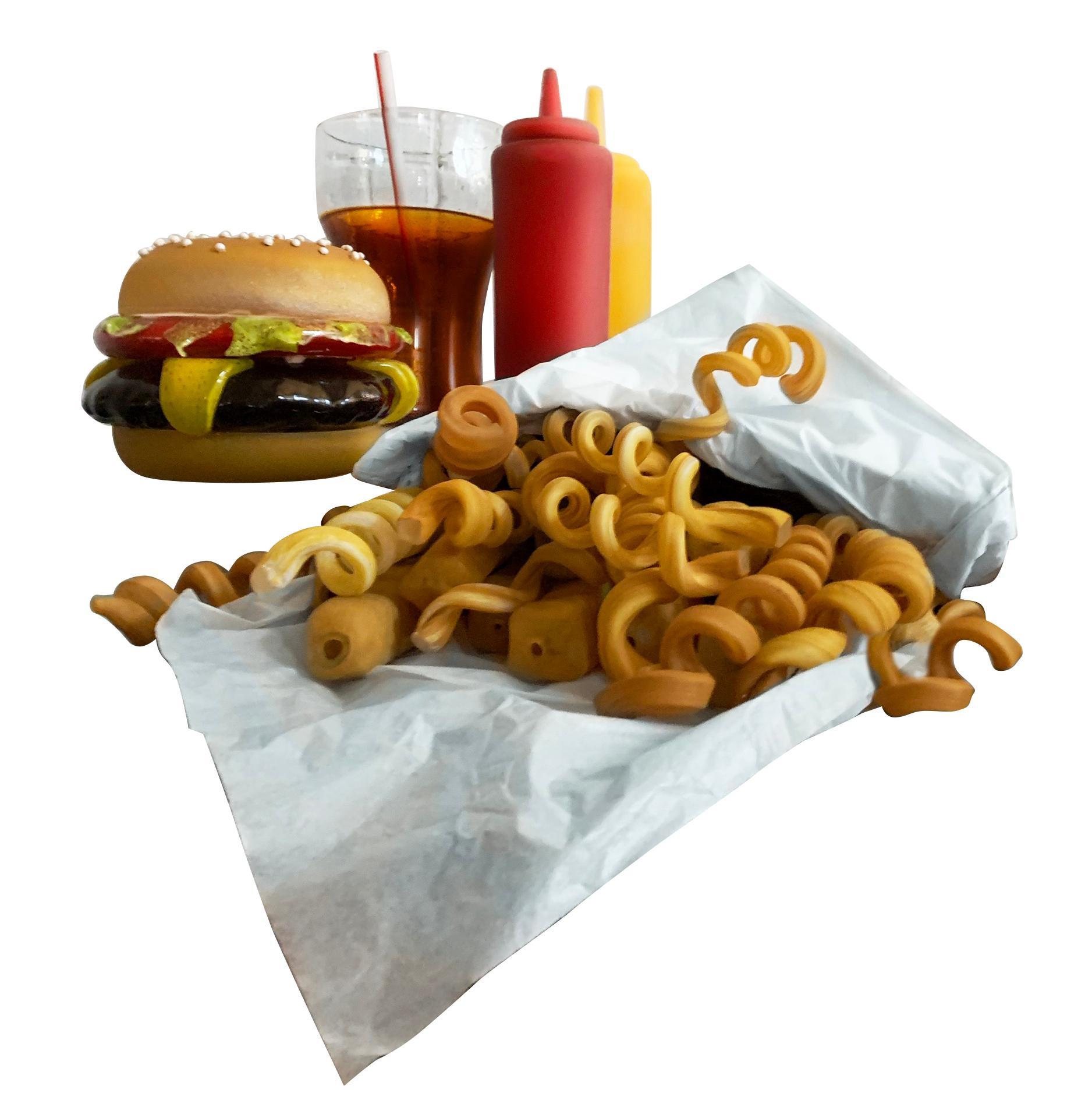 Pop Art Blue Plate Special Burger & Fries Glass Sculpture Set John Miller, 2008