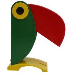 Pop Art Cockatoo Vintage Table Lamp Oldtimer Ferrari Yellow Green Red Italy 1980