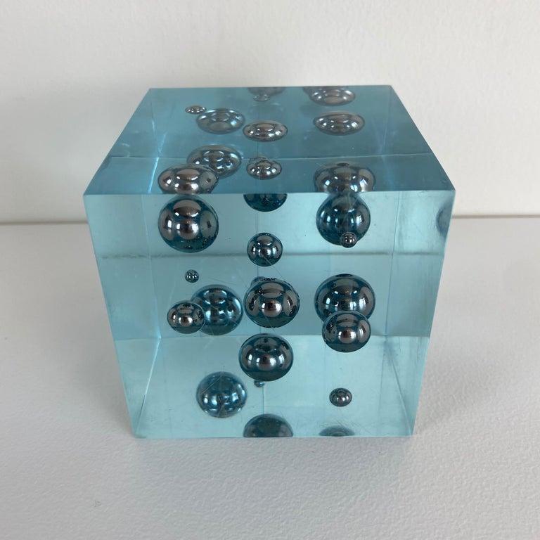 Mid-Century Modern Pop-Art Enzo Mari Style Lucite Cube Sculpture For Sale