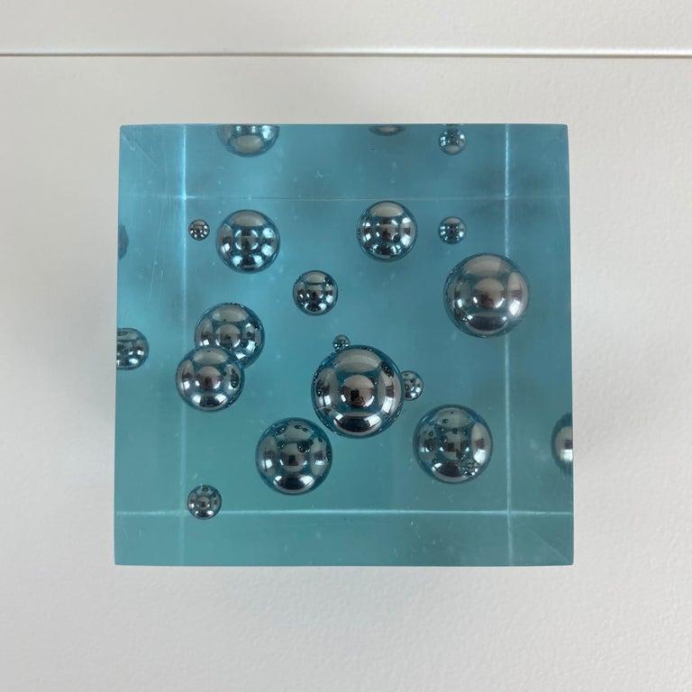 20th Century Pop-Art Enzo Mari Style Lucite Cube Sculpture For Sale