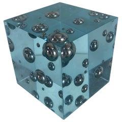 Pop-Art Enzo Mari Style Lucite Cube Sculpture