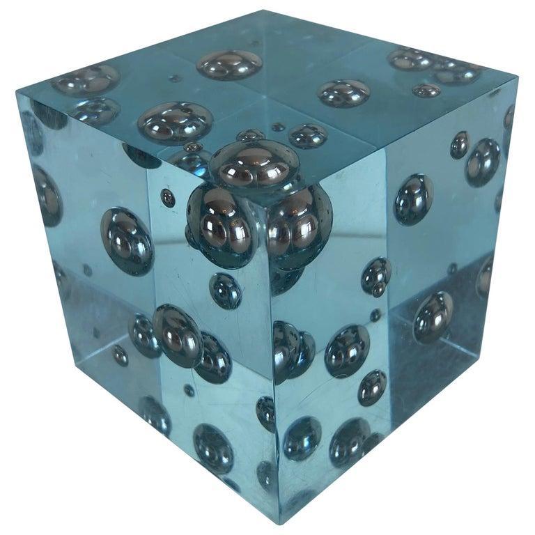 Pop-Art Enzo Mari Style Lucite Cube Sculpture For Sale