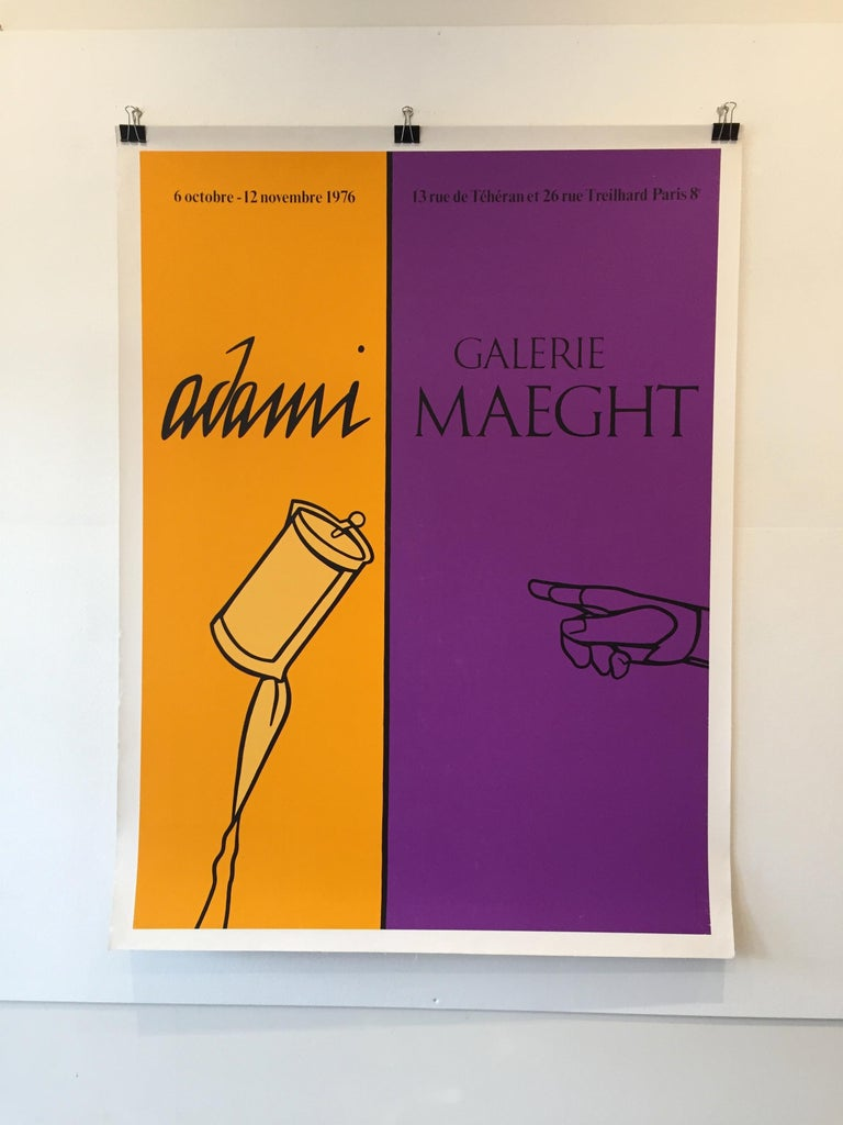 Pop Art exhibition poster, 'Adami' 1976, Galerie Maeght  Original vintage poster promoting the work of the famous Spanish pop artist, Adami from 1976.   Artist:  V Adami  Year:  1976  Dimensions:  166 x 126cm  Condition: