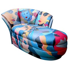 Pop Art Hand Painted Chaise Lounge by Robert Fischer