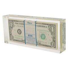 Pop Art Illusion Dollar Bill Lucite Sculpture Vintage