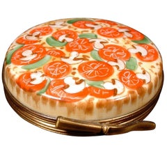 Pop Art Limoges French Porcelain Pizza Pie Miniature Trinket Box