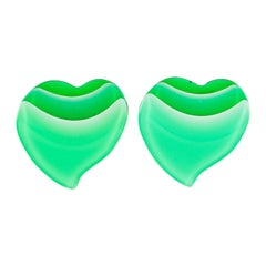 Pop Art Lucite Heart Clip Earrings Shaded Green