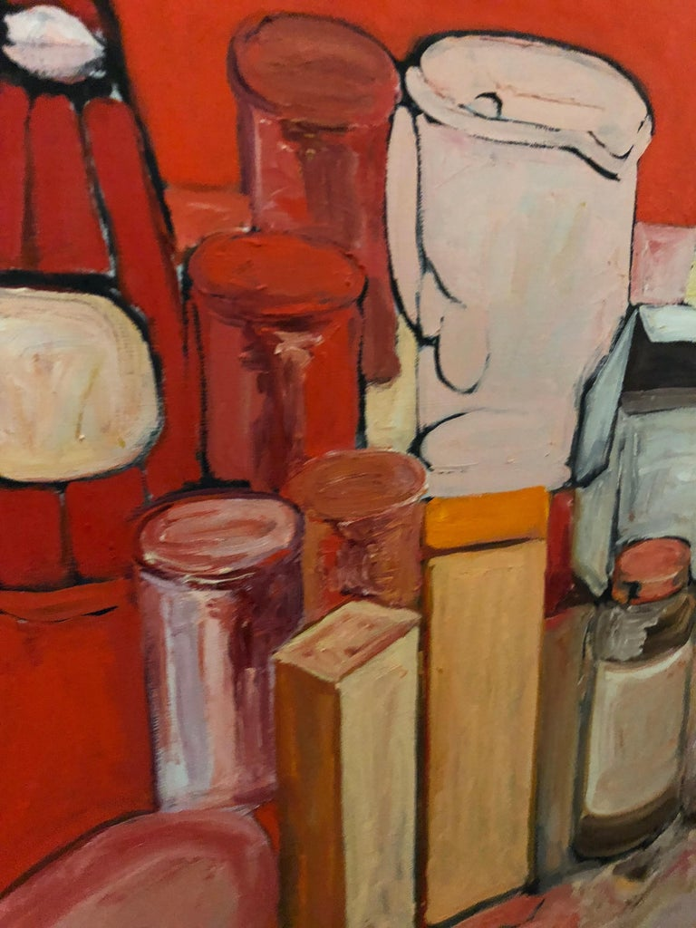 Pop Art Oil on Canvas Untitled Still-Life Painting by Salvatore Grippi 1970  Oil painting is signed  noted New York School artist Salvatore Grippi.  One of the original members of the Abstract Expressionist
