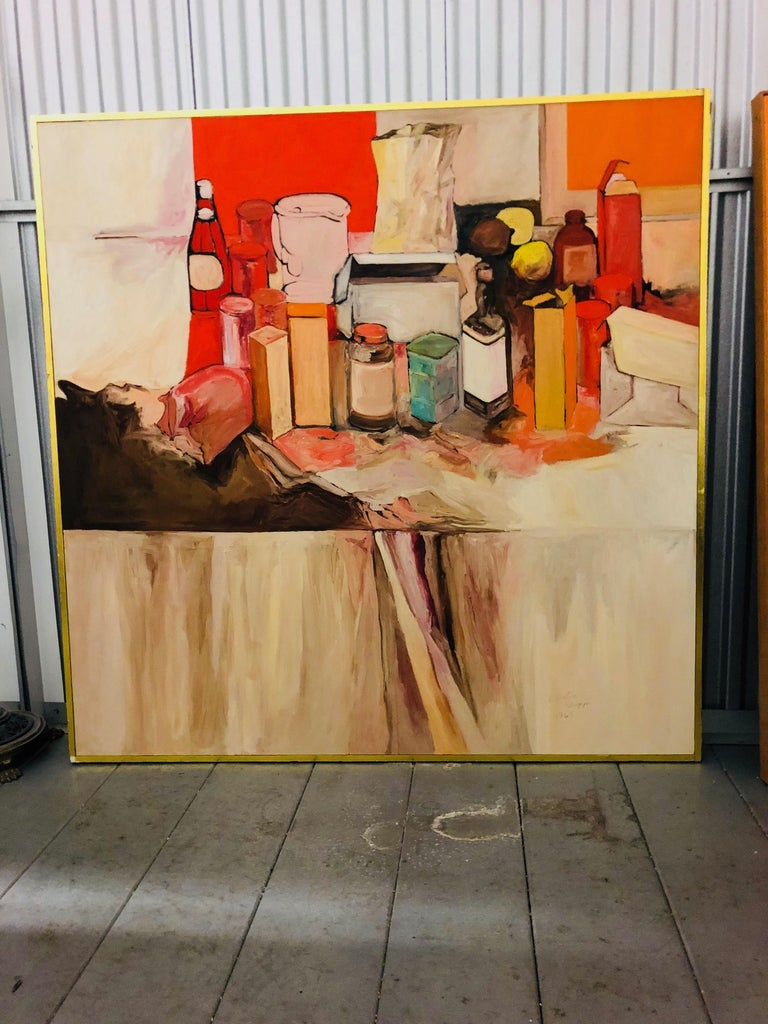 American Pop Art Oil on Canvas Untitled Still-Life Painting by Salvatore Grippi 1970 For Sale