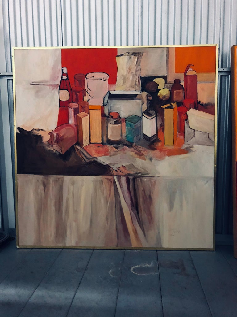 American Pop Art Oil on Canvas Untitled Still-Life Painting by Salvatore Grippi, 1970 For Sale