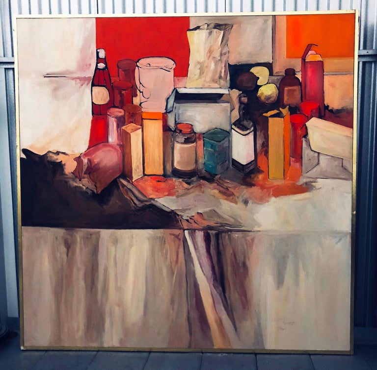 20th Century Pop Art Oil on Canvas Untitled Still-Life Painting by Salvatore Grippi, 1970 For Sale