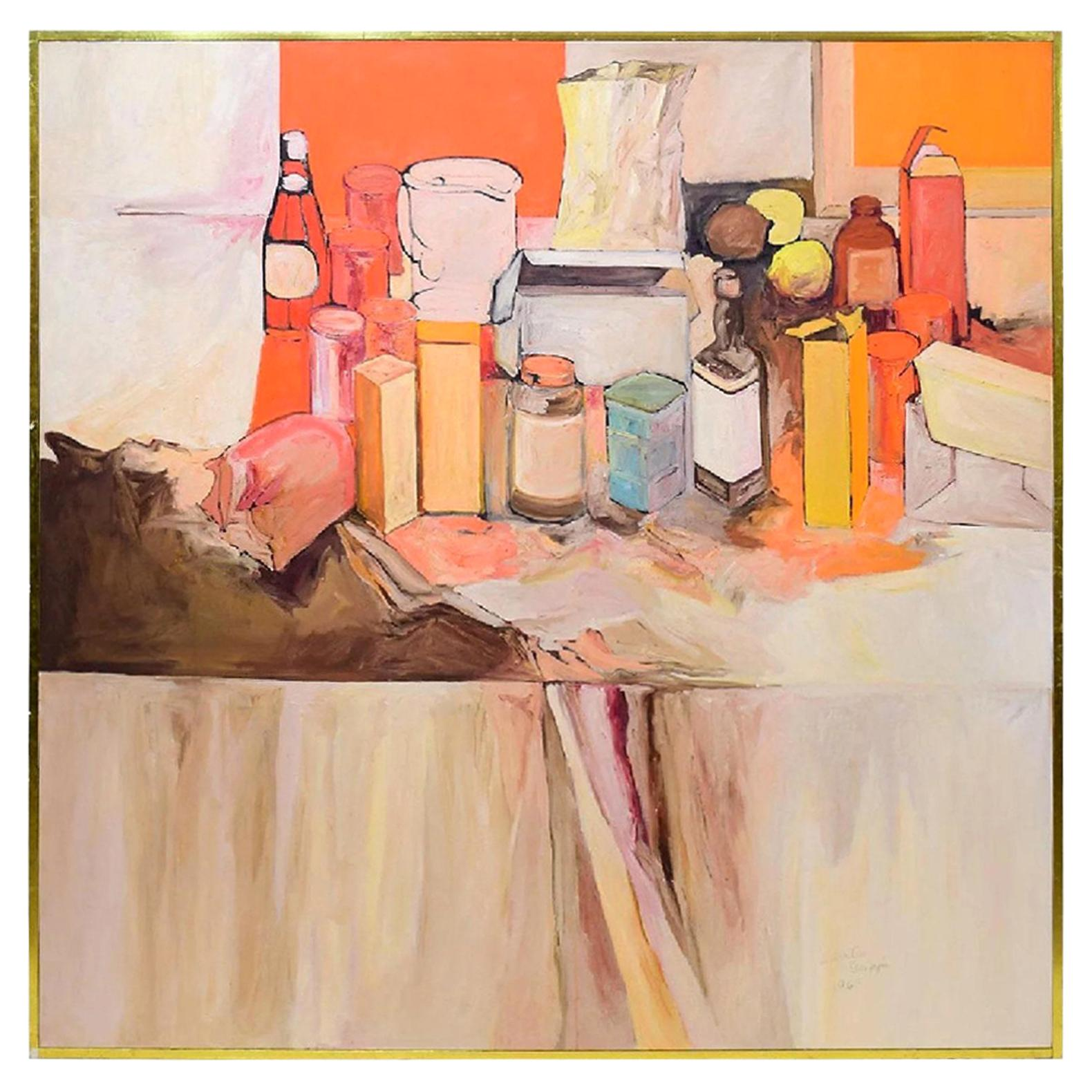 Pop Art Oil on Canvas Untitled Still-Life Painting by Salvatore Grippi, 1970