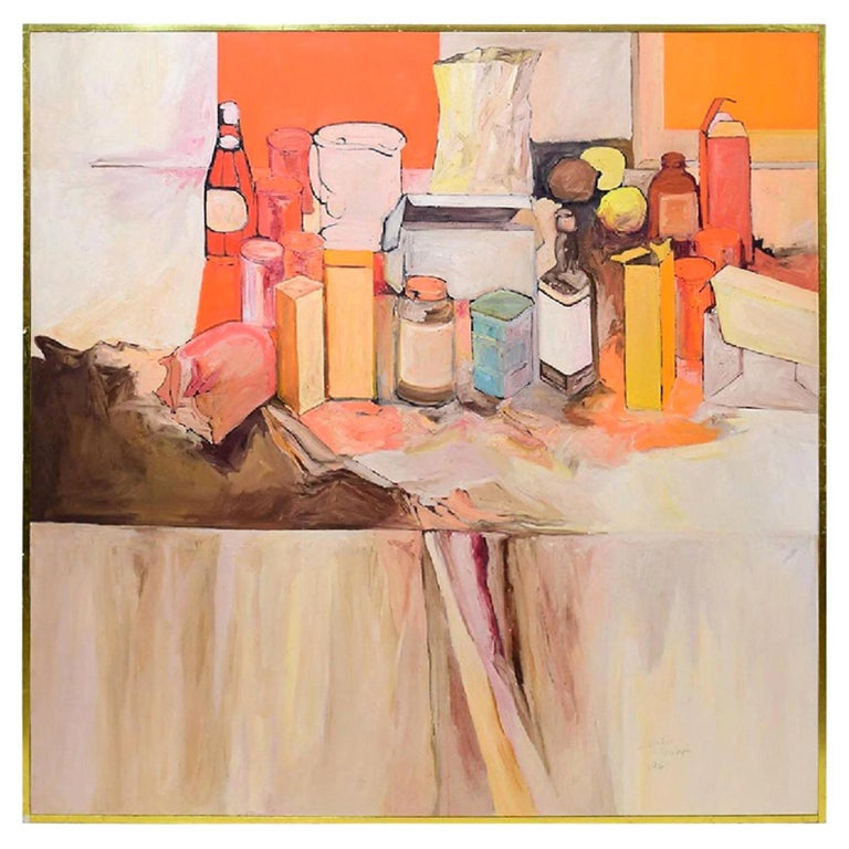 Pop Art Oil on Canvas Untitled Still-Life Painting by Salvatore Grippi, 1970 For Sale