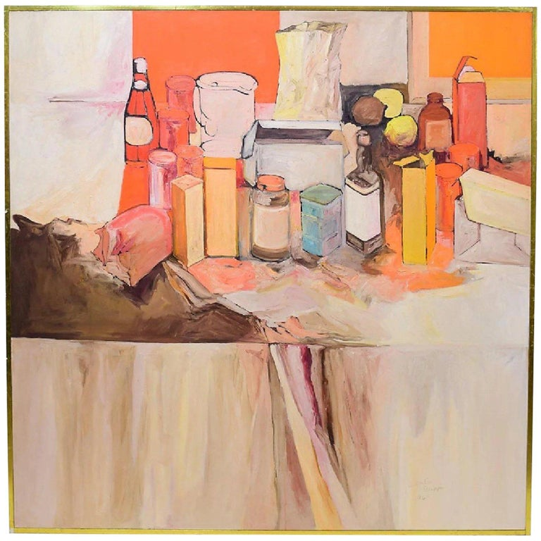 Pop Art Oil on Canvas Untitled Still-Life Painting by Salvatore Grippi 1970 For Sale
