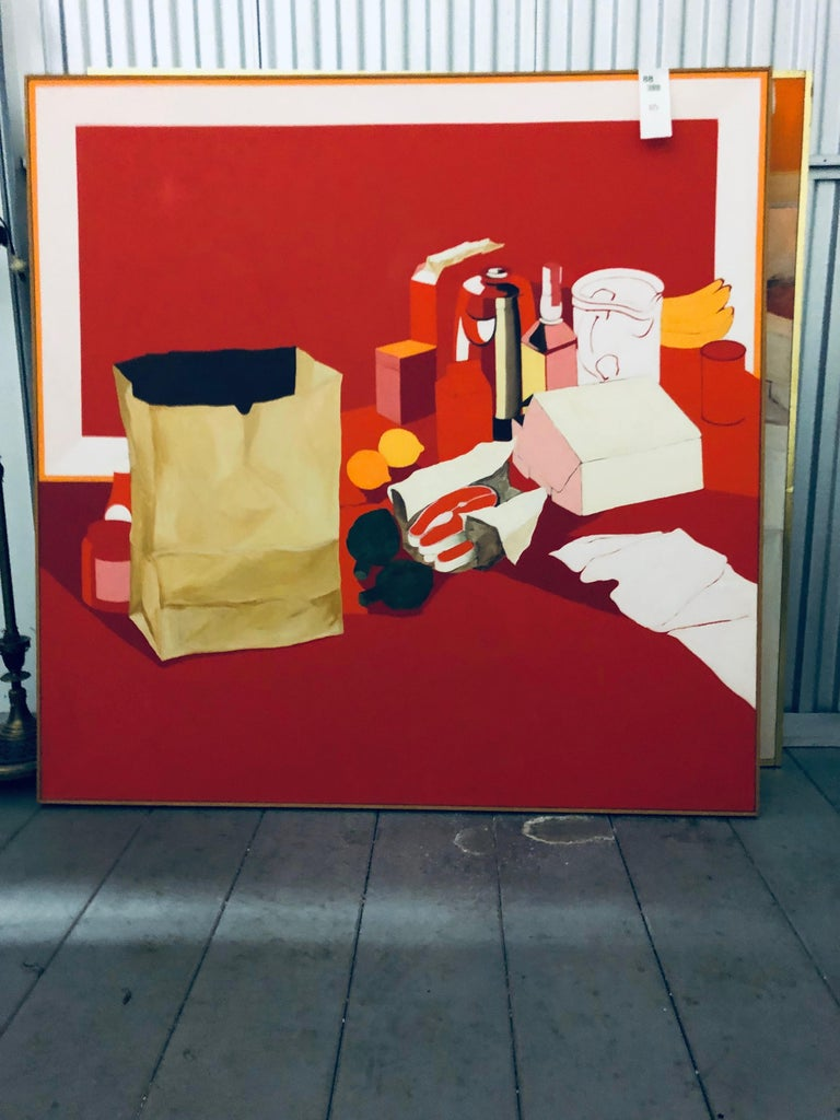 American Mid-Century Pop Art Oil Still-Life Painting Salvatore Grippi Red Salmon Banana  For Sale