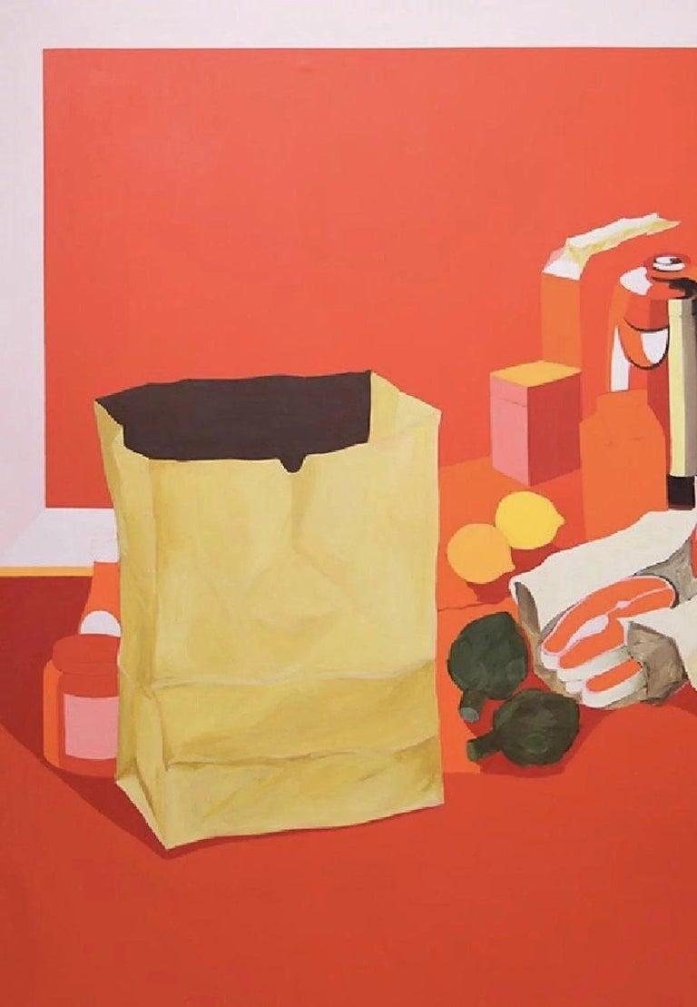 20th Century Mid-Century Pop Art Oil Still-Life Painting Salvatore Grippi Red Salmon Banana  For Sale