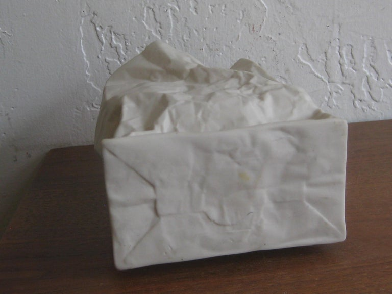 Pop Art Porcelain Paper Bag Vase Sculpture by Hawaii's Ceramic Art Studio For Sale 7