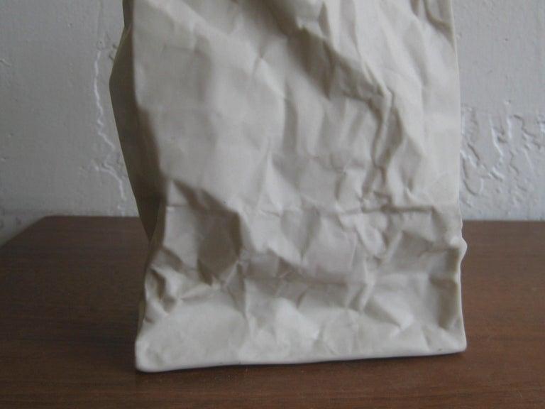 Pop Art Porcelain Paper Bag Vase Sculpture by Hawaii's Ceramic Art Studio In Excellent Condition For Sale In San Diego, CA