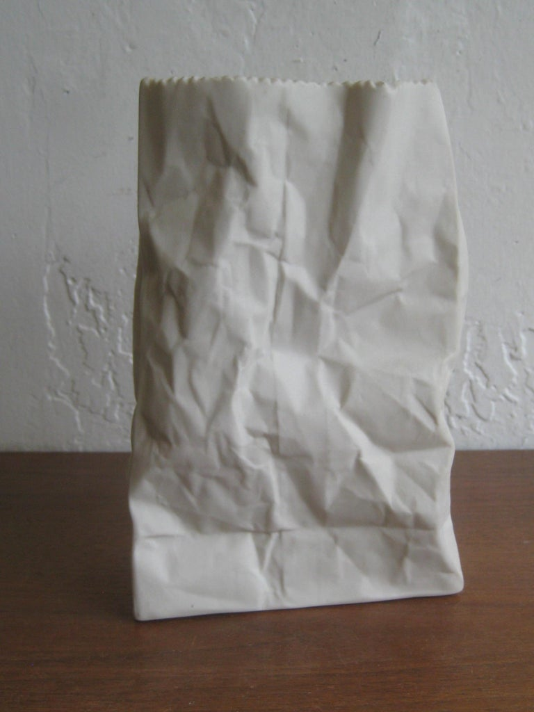 Pop Art Porcelain Paper Bag Vase Sculpture by Hawaii's Ceramic Art Studio For Sale 1