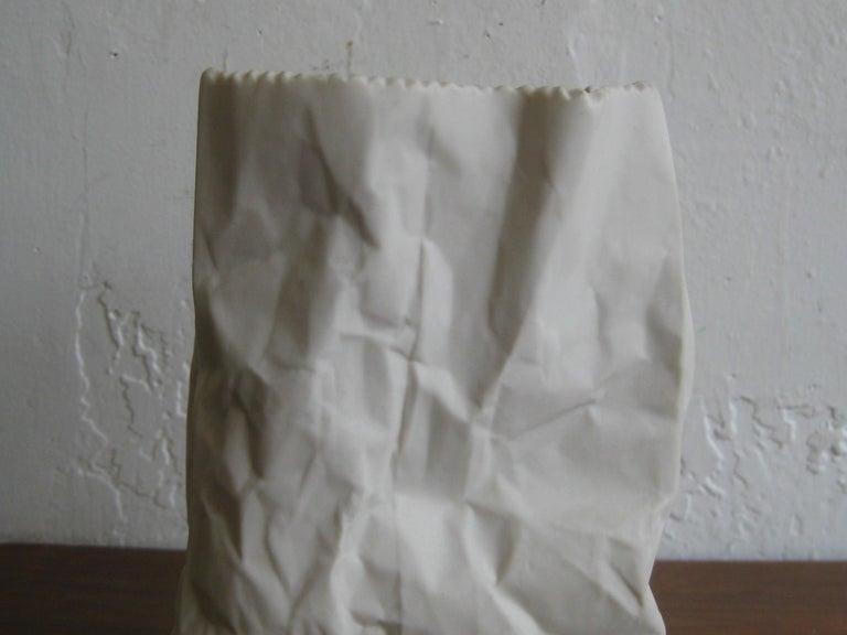 Pop Art Porcelain Paper Bag Vase Sculpture by Hawaii's Ceramic Art Studio For Sale 2