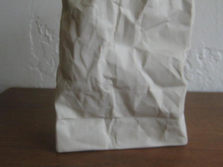Pop Art Porcelain Paper Bag Vase Sculpture by Hawaii's Ceramic Art Studio For Sale 3